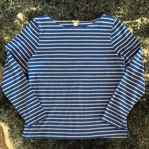 J. Crew Long-sleeve Striped Boatneck T-shirt